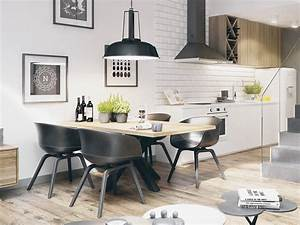 30, Black, U0026, White, Dining, Rooms, That, Work, Their, Monochrome, Magic