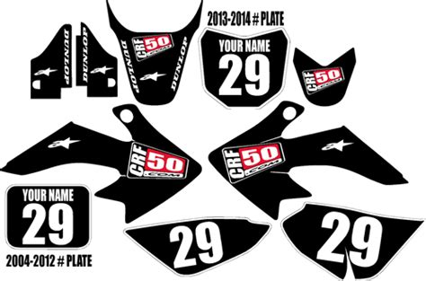 More than 40 designs to choose from. Honda CRF 50 Graphic Kit Black Clean Series