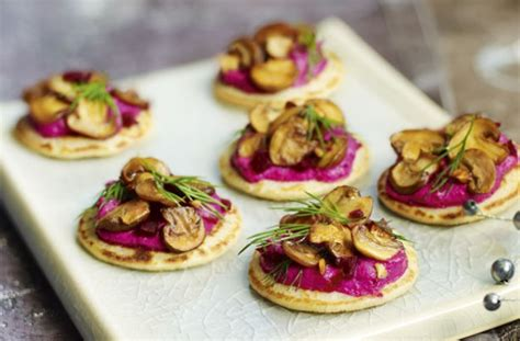 beetroot blinis with garlicky mushrooms recipe goodtoknow