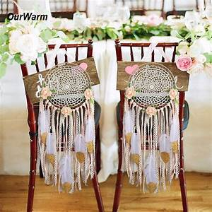Ourwarm, Rustic, Wedding, Party, Decoration, 2pcs, Handmade, Dream, Catcher, With, Feathers, Wall, Hanging