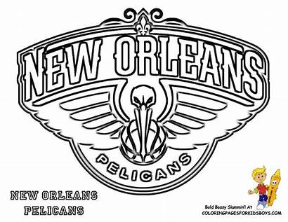 Coloring Nba Pelicans Basketball Printable Pages Orleans