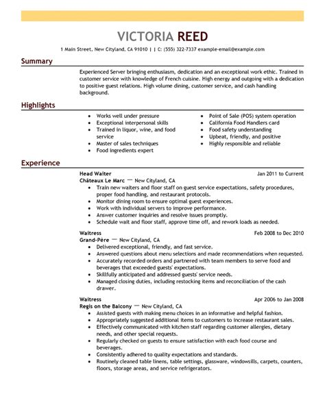 example of restaurant resume free resume examples by industry job title livecareer
