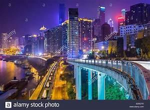 Chongqing, China night time cityscape Stock Photo ...