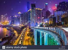 Chongqing, China night time cityscape Stock Photo, Royalty