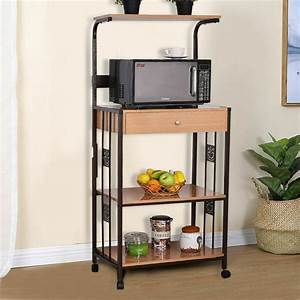 59 U0026quot  Bakers Rack Microwave Stand Rolling Kitchen Storage