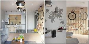 Small re planned apartment for a typical it specialist for Kitchen colors with white cabinets with tandem bike wall art
