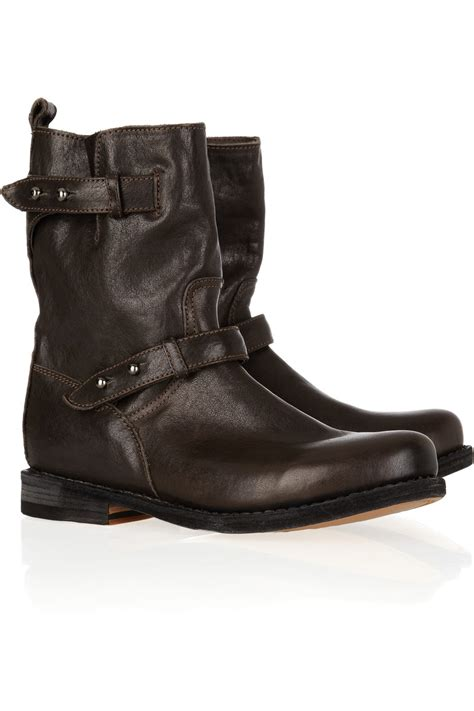 brown moto boots rag bone moto leather biker boots in brown lyst