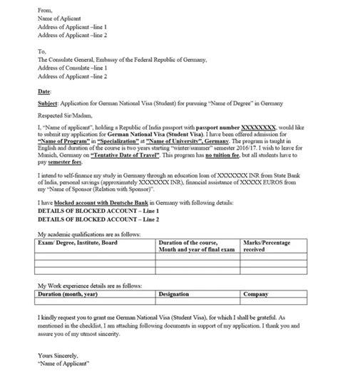 german visa cover letter sample  examine