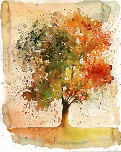 Autumn Tree Original watercolor painting 10x8 inch by Ireart