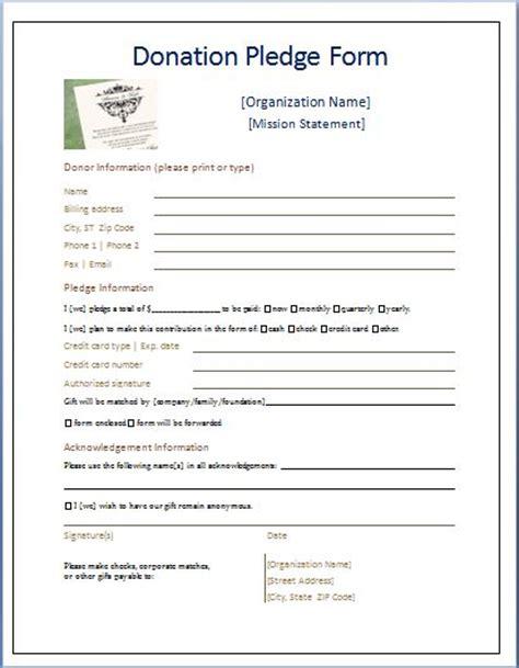 pledge card template sle donation pledge form printable forms letters sheets
