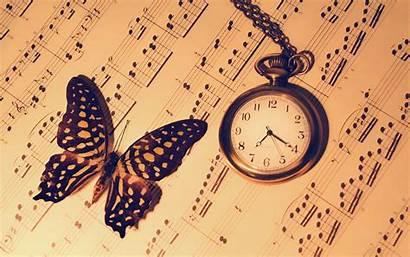 Clock Butterfly Notes Wallpapers Reloj Bokeh Desktop