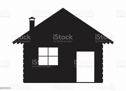 Cabin Silhouette Log Vector Background Clipart Clip