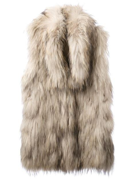 lyst meteo  yves salomon rabbit fur gilet  natural