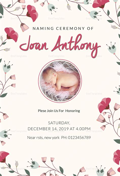 happiest naming ceremony invitation design template  psd
