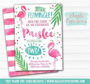 Printable Watercolor Flamingo Birthday Invitation - Luau