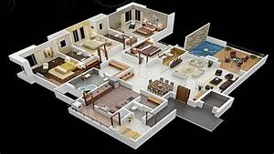 4 Bedroom House Floor Plans 3D 3 Bedroom House, modern ...