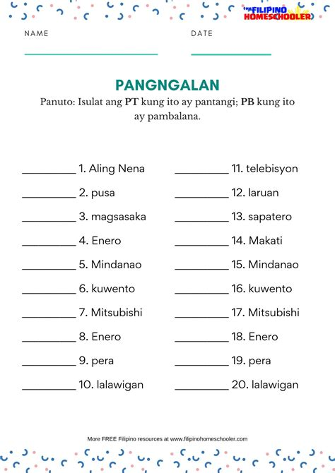 mga uri ng pangngalan worksheets  filipino homeschooler
