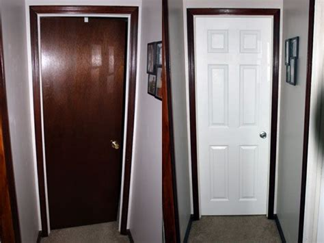 painted door  stained trim interior doors diy