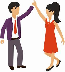 Cartoon Business Man and Woman Hand Giving High Five ...