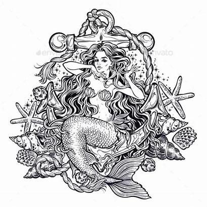 Mermaid Drawn Hand Siren Mandala Artwork Tattoo