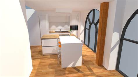 plan cuisine avec ilot cuisine blanc brillant avec îlot plan de travail bois