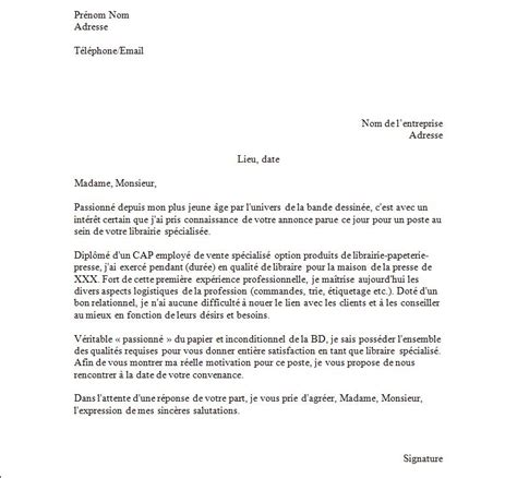 Lettre De Cv by Lettre De Motivation Libraire Exemples De Cv