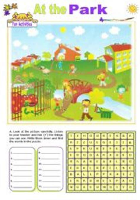 esl kids worksheets   park