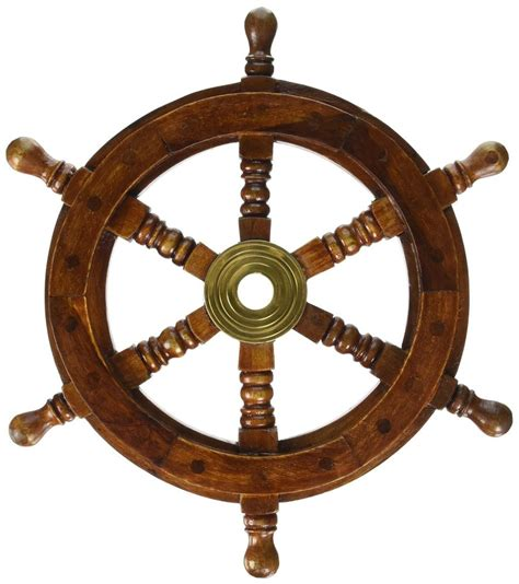 Boat Steering Wheel Home Decor by 12 Quot Vintage Boat Ship Steering Wheel Brass Hub Wood Wooden