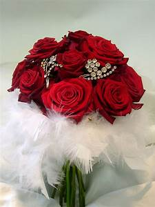 Red rose brooch bouquet with feathers Wedding Pinterest