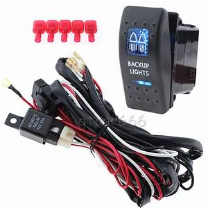 Car Auto 40a Wiring Harness Kit   12v 20a Blue Led Backup Light Rocker Switch