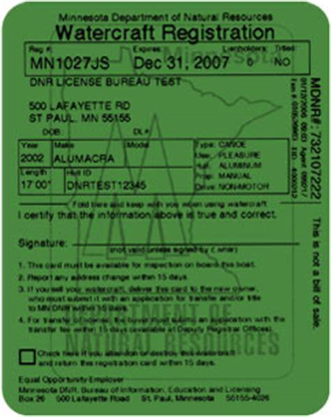 Mn Dnr Boat Registration by License Certificate Registration Card Boat Ed