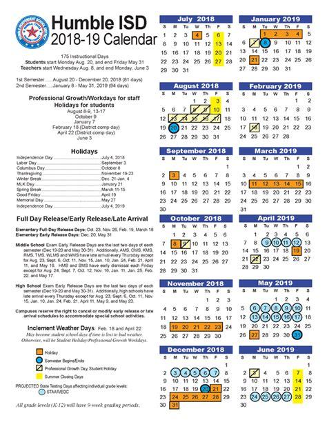 pace program humble isd calendar