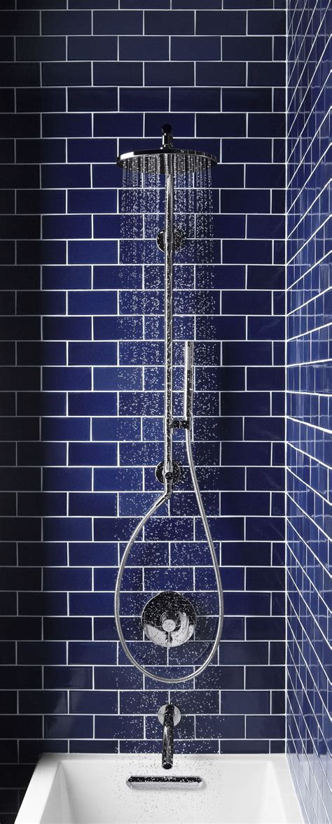 tiles navy blue subway tile and the hydrorail shower easy to install kohler hydrorail shower column transforms