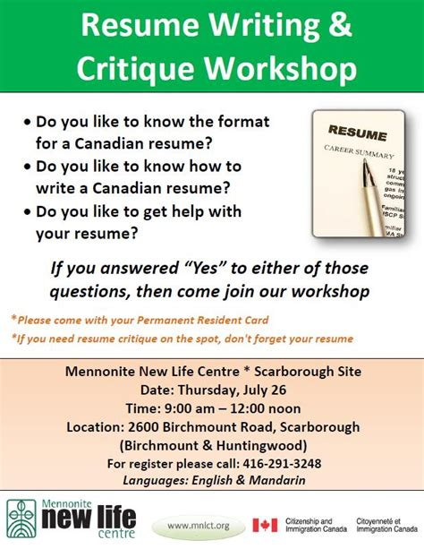 Resume Workshops Toronto by Essay Editing Services Canada Stonewall Services