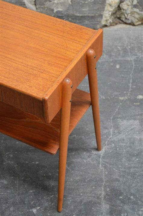 side table with drawer and shelf mid century teak petite side table or nightstand with