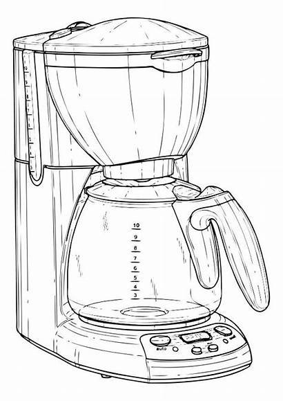 Kaffeemaschine Koffiezetapparaat Kleurplaat Disegno Colorare Caffettiera Cafetera