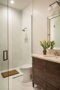 Transitional, Bathroom, With, White, Tiles, And, Glass, Enclosed