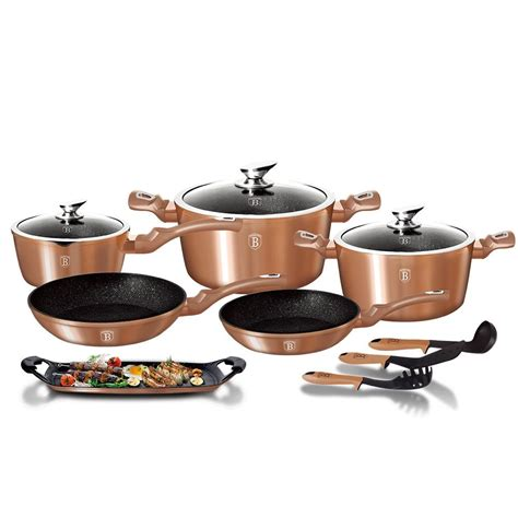 berlinger haus  piece marble coating cookware set rose gold