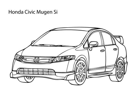 Super Car Honda Civic Coloring Page, Cool Car Printable