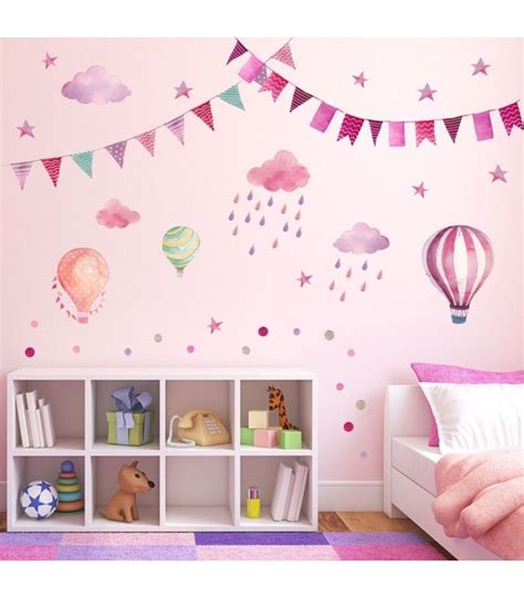 Wandtattoo Kinderzimmer Lila by Wandtattoo Girlande Wimpelkette Ballon Wolke Regen Sterne