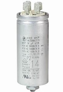 Operating Capacitor 14  U00b5f    450 V  Aluminium Can  Flat Plug