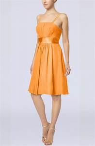 orange plain a line spaghetti chiffon mini sash wedding With orange wedding guest dress