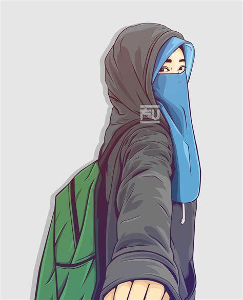 vector hijab niqab atahmadfu kartun ilustrasi karakter animasi