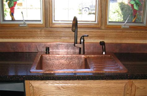 rustic kitchen sink made custom copper sink with drain board