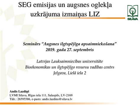 (PDF) SEG emisijas un augsnes oglekļa uzkrājuma izmaiņas LIZ