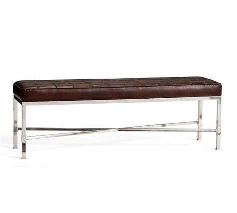 pottery barn bench quinn tufted leather bench pottery barn