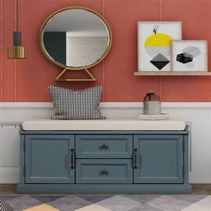 Storage, Bench, Entryway, Shoe, Bench, With, 2, Drawers, And, 2, Cabinets, Shoebox, Footstool, With