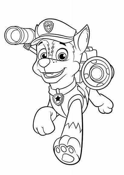 Paw Patrol Chase Coloring Pages Cartoon