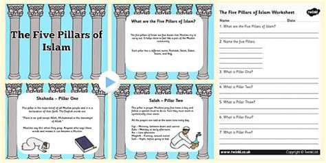 the five pillars of islam powerpoint and worksheet pack islam