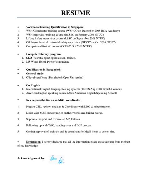 resume of ielts trainer resume